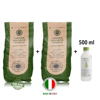 Carbone per Instagrill  Lotus Grill Vegetale di alta Qualità - 2,5Kg + 2,5 Kg + gel